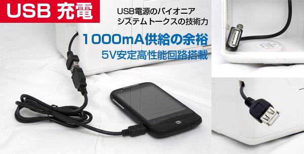 USB充電 USB電源のパイオニア システムトークスの技術力 1000mA供給の余裕 5V安定高性能回路搭載 ケータイや音楽プレーヤーなどが充電できる